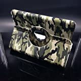 ISKY Ipad5 light Green Camouflage iapd air 360 rotating case smart cover for apple 5th gernation touch pad