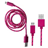 Wayzon Quality Hot Pink Strong Nylon Braided Unbrakable High Speed Sync Micro USB Data Cable Lead Charger For Nokia 600 / 603 / 6208c / 6212 classic / 6220 / 6260 slide