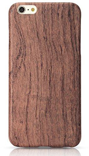 PITAKA® iPhone6Plus / iPhone6sPlus (5.5 インチ)対応ケース スリム型保護ケース 耐衝撃 ローズウッド天然木製 強化ガラスフィルム付き
