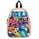 Generic Custom Cute Disney Monsters University Roles Printed Light Salmon School Bag Backpack Fit Short Trip PU Leather Medium