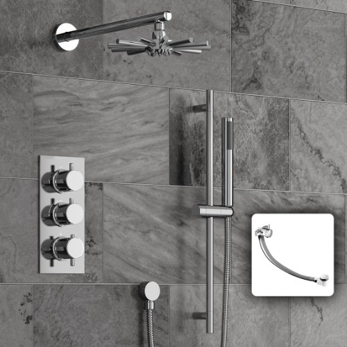 Concealed Bathroom Thermostatic Mixer Shower Set with Handheld & Riser Rail SS3068