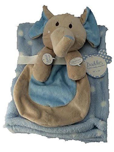 "Buddies 2 Piece Set Blue Polka Dot Baby Blanket 30"" X 36"" with Buddy Elephant Security Toy, Squeeze His Hands and They Squeak"