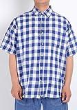 (コンバース)CONVERSE 大きサイズ 2L 3L 4L 5L シャツ/メンズ 麻混 チェック シャツ + 半袖 Tシャツ(ネイビー)