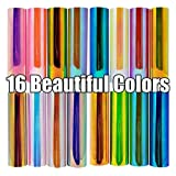 20 pack 12x12 Holographic Premium Permanent Vinyl Sheets 16 Colors + 4 Bonus Transfer Paper Sheets For Cricut Explore Air 2 Silhouette Cameo and Other Vinyl Cutter Machines