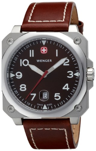 Wenger 'Aerograph Cockpit' Gents Brown Dial Leather Strap Watch