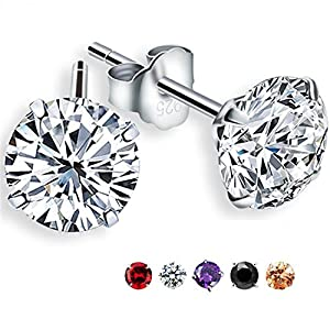 Feramox Rhodium-Plated Sterling Silver Round Cubic Zirconia Stud Earrings 2 cttw
