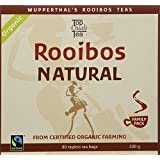 Rooibos Tea Organic FAIR TRADE South African Red Bush Tea Bags, 80 count, Imported Natural Caffeine Free, Sweet Tasting, Antioxidant & Mineral Rich, Healthy Herbal Tea. USDA Certified 100% Organic, Fairtrade, Wupperthal Rooibos (NOT plantation grown).