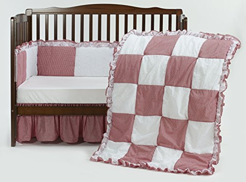 Baby Doll Gingaham/Eyelet Patchwork Crib Bedding Set, Red, 4 Piece