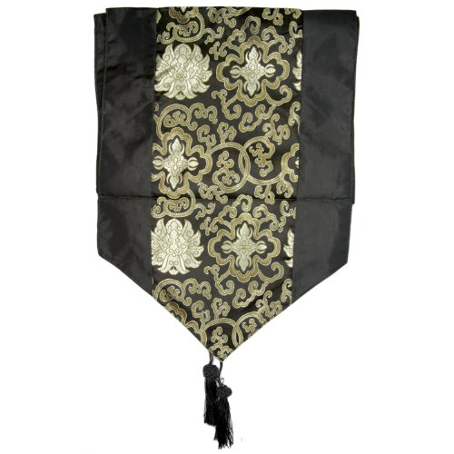 Silky Black Decorative Embroidered Oriental Table Runner