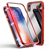 Case for Huawei P20 lite Magnetic Slim PC Hard Case Metal Frame Tempered Glass Magnet Flip Anti-Scratch Protective Cover (Red, Huawei P20 lite 5.8