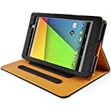 InventCase Asus Nexus 7 Tablet (2nd Generation - 7-Inch) 2013 Smart Multi-Functional PU Leather Book Case Cover with Sleep Wake Function - Black and Tan