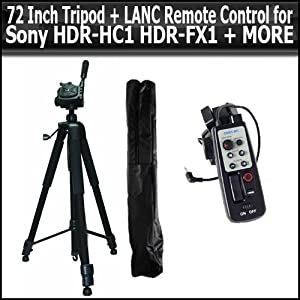 72 Inch Tripod + LANC Remote Control for Sony HDR-HC1 HDR-FX1 FX5 VX2000 VX2100 VX2200 PD150 PD170 HDR-UX1 HC5 UX7 SR7 GVD-1000 GHV-D700 HDR-FX1000 HDR-FX7 HC7 DRC-PC1000