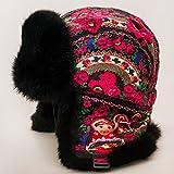 Natural Fur Russian Hat with Ear Flaps (Ushanka) - Nesting Doll Black