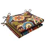 Pillow Perfect Indoor/Outdoor Annie Westport Reversible Squared Seat Cushion, Chocolate, Set of 2