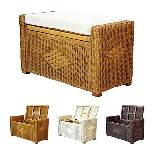 Bruno Handmade 32 Inch Rattan Wicker Chest Storage Trunk Organizer Ottoman W/cushion Colonial (Light Brown) (Wicker Storage Ottoman compare prices)