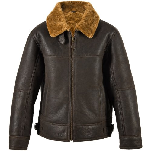 Mens Brown Leather Aviator Flying / Bomber Jacket with Caramel Sheepskin lining (Shaun). Size 50