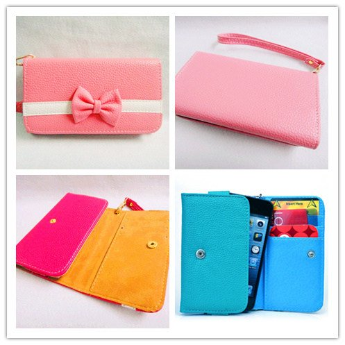 Bowknot Bow Girl Cute lovely Leather Wallet Purse Flip Smart-Phone Wristlet Clutch Leather Wallet Case Cover for Samsung Mobile Cell Phone 1 Samsung Galaxy S Blaze 4G SGH-T769 T-Mobile - pink