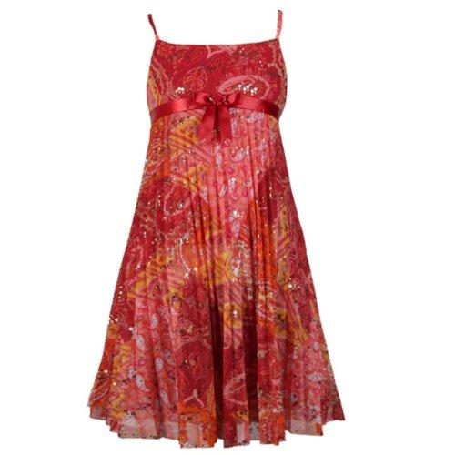Size-10 BNJ-7276B ORANGE GOLD FOIL DOT SUNBURST PLEAT CHIFFON OVERLAY BABYDOLL Special Occasion Wedding Flower Girl Party Dress,B47276 Bonnie Jean TWEEN GIRLS
