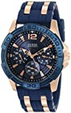 ゲス GUESS Men's U0366G4 Iconic Blue Multi-Function Sport Watch with Day Date 24 Hour Int'l Time & Comfortable Silicone Strap 男性 メンズ 腕時計 【並行輸入品】