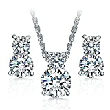18k White Gold Plated Necklace Crystal Stud Earrings Cubic Zirconia Jewelry Set for Women Teen Girl