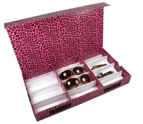 Pink Leopard Pattern Eyeglasses Case Display