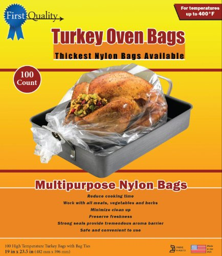 First Quality 19-Inch by 23-1/2-Inch Turkey Oven Bags 100 bags and Ties Per Box
