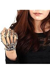 Skeleton Hand Finger Bone Bracelet Ring Silver