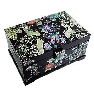 boite coffret bois d coration nacre artistique miroir integr luxe paons d asie. Black Bedroom Furniture Sets. Home Design Ideas