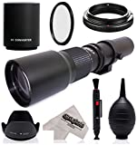 Super 500mm 1000mm f 8 Manual Telephoto Lens for Canon EOS 80D - 70D - 60D - 60Da - 50D - 40D - 30D - 1Ds - Mark III II - 7D - 6D - 5D - 5DS - Rebel T6s - T6i - T6 - T5i - T5 - T4i - T3i - T3 - SL1 Digital SLR Cameras