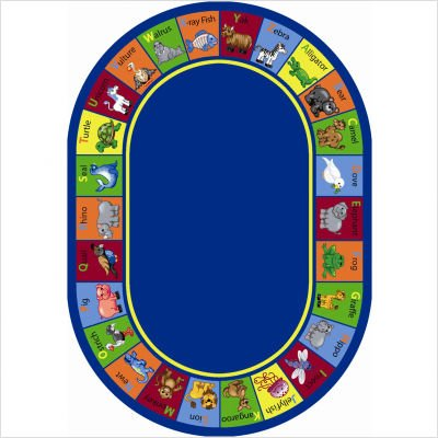"Educational Animal Phonics Multi Kids Oval Rug Size: Oval 5'4"" x 7'8"""