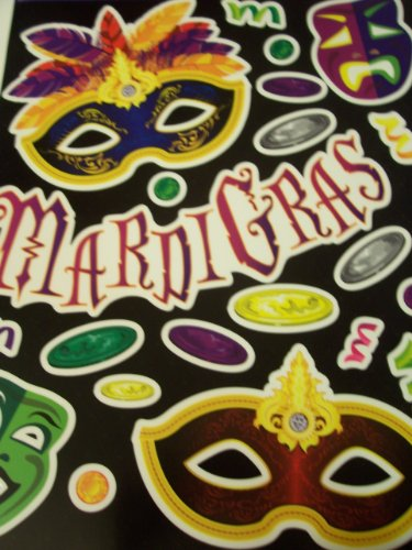 Mardi Gras Reusable Window Clings ~ Mardi Gras, Feathered Mask, Coins and More! (21 Clings, 1 Sheet)