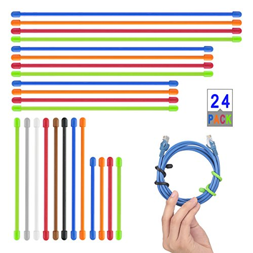 AusKit Rubber Twist Ties,Reusable Gear Ties 24 Pcs Assorted Colors(Diameter-4mm, 4 Inch, 6 Inch,8 Inch,10 Inch,12 Inch)