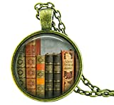 """VINTAGE BOOKS"" PENDANT NECKLACE – Book Lovers Readers Jewelry Gifts Apparel Accessories"