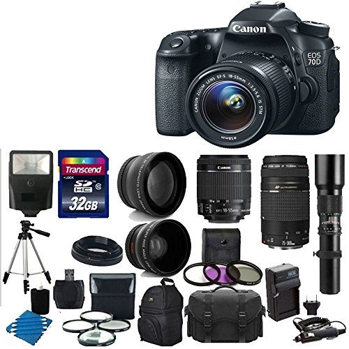 Canon Eos 70D 20.2 Mp Digital Slr Camera With Dual Pixel Cmos Af Body And Ef-S 18-55Mm F3.5-5.6 Is Stm With Canon Zoom Telephoto Ef 75-300Mm F/4.0-5.6 Iii Autofocus Lens + Telephoto 500Mm F/8.0 T- Mount Lens (Long) With 58Mm 2X Professional Lens +High Def