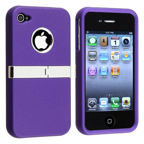 Snap-on Case compatible with Apple® iPhone® 4 AT&T / Verizon / iPhone® 4S, Purple with Chrome Stand