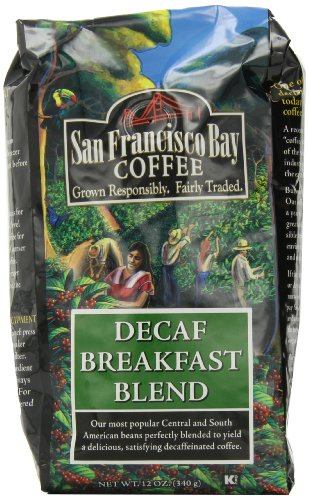 San Francisco Bay Coffee Whole Bean Decaf Breakfast Blend, 12-Ounce Bags (Pack of 3)