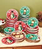 Christmas Snowman Moose Set of 24 Round Aluminum Goodie Containers