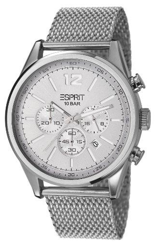 Esprit ES106351005 - Reloj analógico de cuarzo para hombre, correa de acero inoxidable color plateado