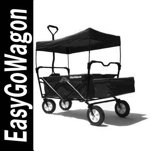 Image of easygowagon.com V-EW-101 Black Folding Utility Cart Wagon. Cart Transports Products Andor Children. Made By Easygowagon