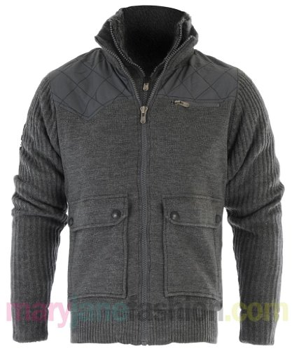 Mens Crosshatch Branded Fur Lined Quilted Stitch Panel Jacket Coat S Charcoal
