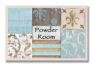 The Stupell Home Decor Collection Fleur de Lis Powder Room Blue, Brown and Beige Rectangle Wall Plaque