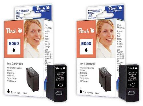 Peach E050 bk Doppelpack Tintenpatronen kompatibel zu Epson T013, S020187, S020093, S020108, schwarz