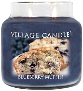 Village Candle Bougie moyenne parfumée Muffin myrtille 14 x 10 cm 899g Jusqu'à 105 heures de combustion