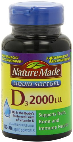 Nature Made, Vitamin D3 2,000 I.U. Liquid Softgels, 250-Count (Vitamin D 3000 compare prices)