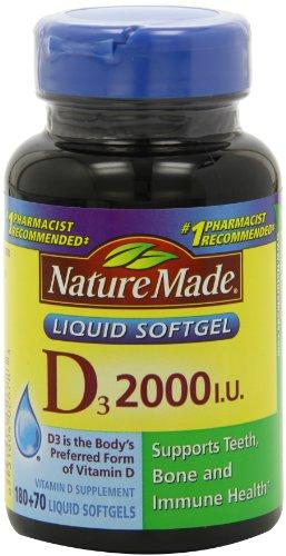 Nature Made , Vitamin D3 2,000 I.U. Liquid Softgels, 250-Count