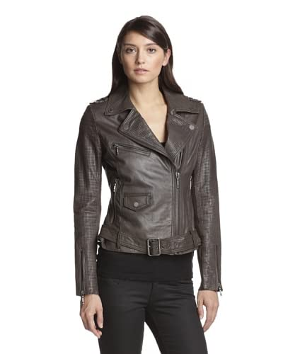 BCBGMAXAZRIA Women's Leather Jacket with Perforation Detail