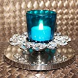 CraftKhana Single Candle Blue Glass Crystal Tea Light Holder