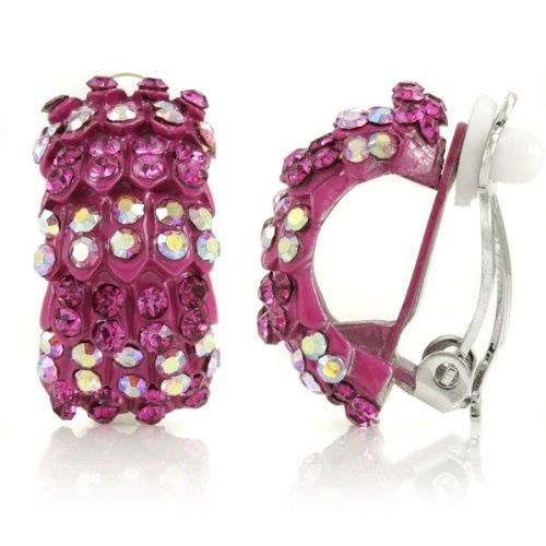 Gertrude's Clip On Hoop Earrings - Pink - Final Sale