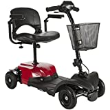 Drive Medical Red Bobcat X4 4 Wheel Compact Transportable Scooter, Black
