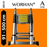 WORHAN® 5m (16' 4'') Double Telescopic Foldable Extendable Multipurpose Aluminium A Frame Robust Ladder Step Ladder (..5m A-line) K5A